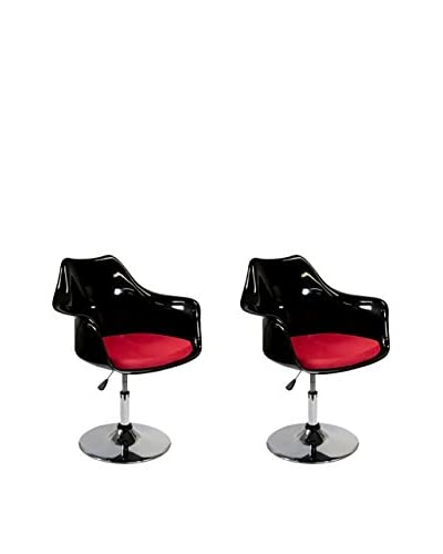 Manhattan Living Set of 2 Lilly Arm Chairs, Black