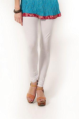Women's solid White Cotton-Lycra Leggings/Churidars