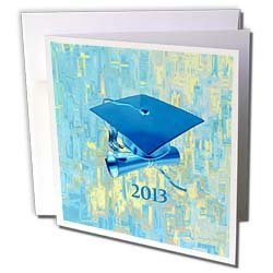Beverly Turner Graduation Design Cap and Diploma 2013 Graduation Abstract Design Aqua Blue Greeting Cards 12 Greeting Cards with envelopes