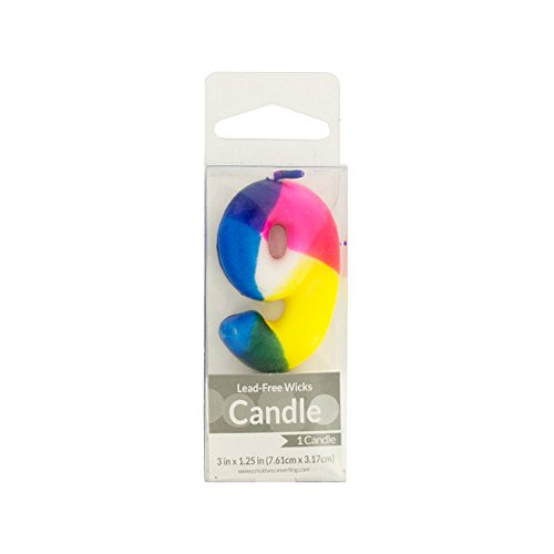 Bulk Buys Numeral 9 Tie Dye Birthday Pick Candle Pack Of 24