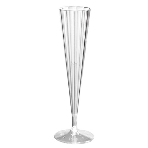 Northwest Enterprises Deluxe/Elegance Two Piece Hard Plastic 5-Ounce Champagne Flutes, Clear, 10 Count front-344032