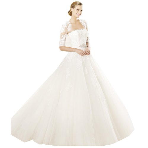 GEORGE BRIDE Strapless Tulle A-Line Ball Gown With Rebrode Lace And Applications And Ribbon