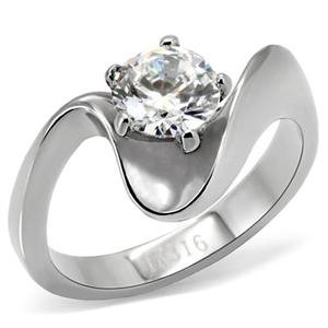 RIGHT HAND RING - High Polished Bypass Stainless Steel with Single Round Cut Clear Solitaire CZ Ring