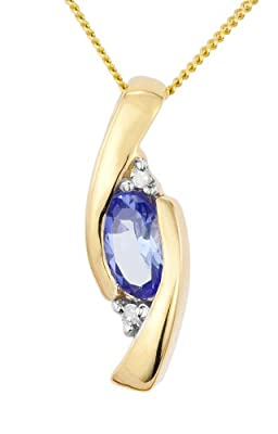 Ornami Glamour 9ct Yellow Gold Tanzanite and Diamond accent Pendant on 46cm Chain