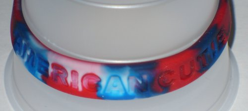 American Cutie Rubber Silicone Fashion Bracelet - Red, White, and Blue