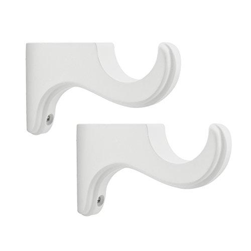 BEME International 1-3/8-Inch Diameter Single Wood Drapery Bracket White, Set of 2