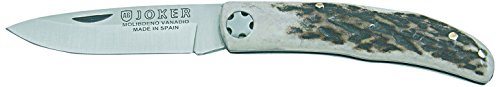 Joker Pocket Knife with Stag Horn Handle, Brown, 5.9-Inch