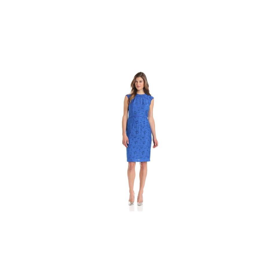 Anne Klein Womens Jacquard Piped Sheath Dress, Azure, 2