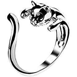 Sannysis® Moda colore d'argento sveglio del gatto di aperture anello con Black Eyes Gioielli