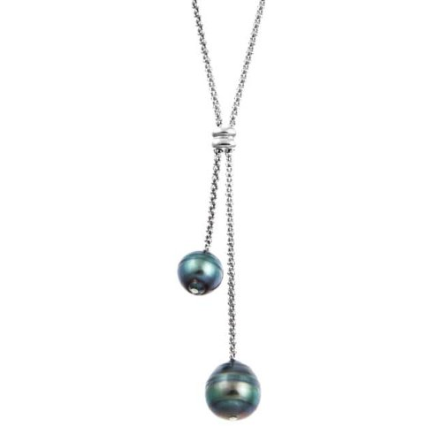 Pearls For You Sterling Silver Tahitian Pearl Lariat Necklace (8-11 mm)