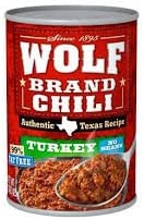 Wolf Brand Turkey Chili NO Beans 15oz Can Pack of 6