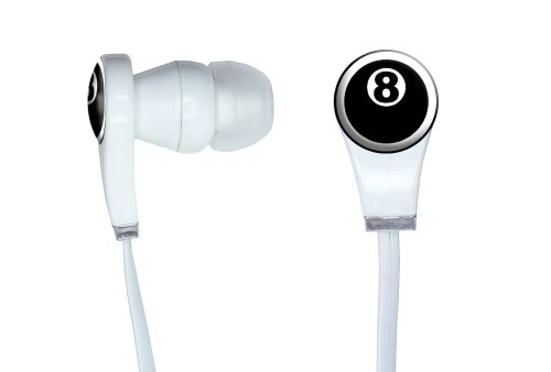 Graphics And More Eight Ball - Pool Billiards Novelty In-Ear Headphones Earbuds - Non-Retail Packaging - White