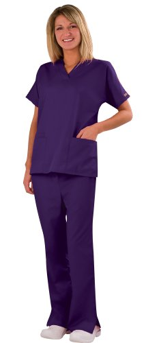 Medical Scrubs - Cherokee Uniforms Authentic Workwear Women's Two Pocket Top and Flare Leg Pant Scrub Set (Grape, Medium) (Scrubs For Women Grape compare prices)