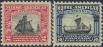 USA Collectible Postage Stamps: 1925 Norse-American Issue. SC 620-1. Mint Non Hinged