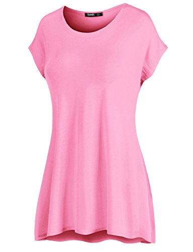 Thanth Womens Soft Jersey Knit Sleeveless Breezy Tank Top Pink X-Large