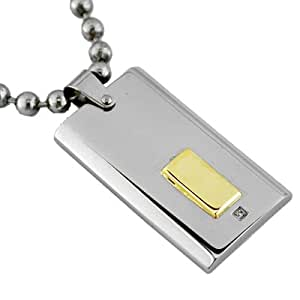 Mens 14K Gold Diamond Stainless Steel Dog Tag Necklace