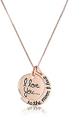 "buy Sterling Silver Rose-Gold Flashed ""I Love You To The Moon And Back"" Two Piece Pendant Necklace, 18"""