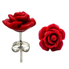 Natural stone Resin Rose Flower stud earrings - RED - hypo allergic stainless steel posts - makes a lovely gift - easy to wear, suitable for everyday wear - packed in a lovely velvet pouch