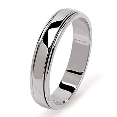 Helios Bijoux Men/Women/4.5 mm) Wedding Ring, 18ct White Gold, 50-New Certificate of Authenticity-Made in France