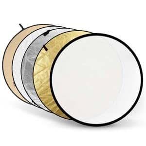 Panneau réflecteur / Diffuseur de lumière 5 en 1 studio photo--Ø110cm pliable réversible-Doré, blanc, translucide, argenté et noir avec sac de transport