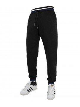 Pantalone BASIC Tuta con Polsini Uomo Basic Sport Palestra Fitness lavoro ufficio (M, NERO)