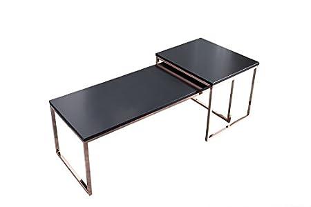 DuNord Design Couchtisch Beistelltisch STAGE LONG 2er Set schwarz Kupfer Design Tisch Set