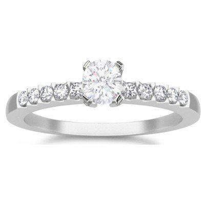 0.58 Carat Engagement Ring on Sale with Round cut Diamond on 14K White gold