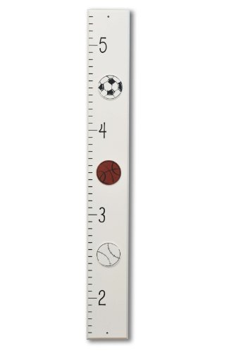 Homeworks Etc Soccer, Basketball and Baseball Sports Gowth Chart, Ivory/Black