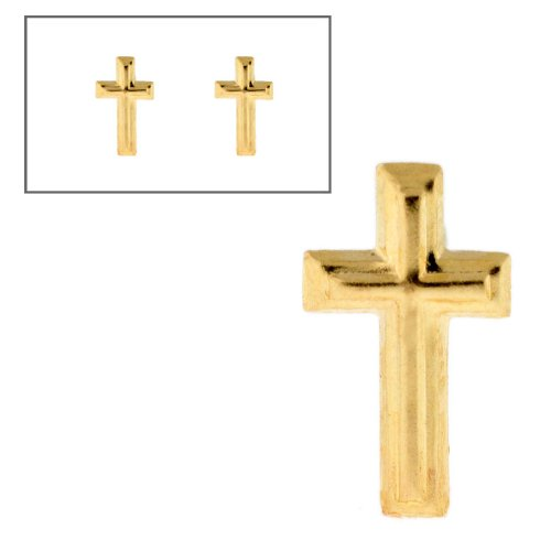 10KT Gold Small Cross Post Earrings