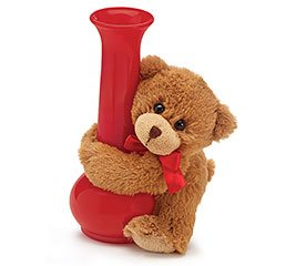 Valentines Day Gift Set Bear Hugger Vase with Half Dozen Wooden Roses and Chocolate WRAPPED AND BOXED