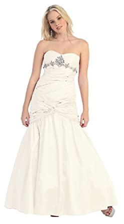 Strapless Junior Prom Dress Long Gown #761 (4, Ivory)