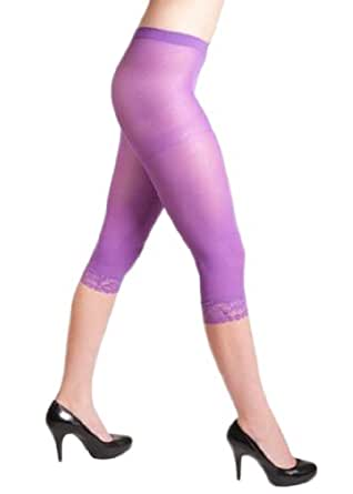 Sheer Purple Capri/Knee Length Tights with Fine Lace Trim ...