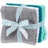 Wash Cloth Bundle - Grey Blue and White - 8 Count - 1