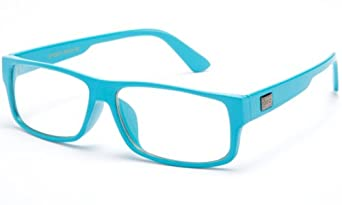 IG Unisex Clear Lens Plastic Fashion Glasses in Aqua Blue