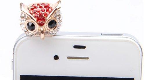 Highwinwin Bling Crystal 3.5Mm Rhinestones Night Owl Pattern Cellphone Charms Anti-Dust Dustproof Earphone Audio Headphone Jack Plug Stopper For Iphone 4 4S Samsung Galaxy S2 S3 Note I9220 Nokia Htc Sony Lenovo Motorola Lg(Red)