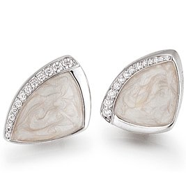 Basic 01.EX424 Silver Women's Silver Stud Earrings set with White Zirconia