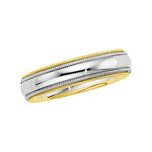 14k Two-Tone Comfort Fit Band Ring - Size 9.5 - JewelryWeb