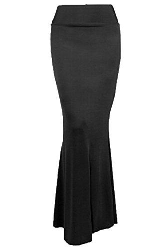 Ladies Winter Spring Solid Floor Length Long Maxi Mermaid Peicil Skirt(Black)