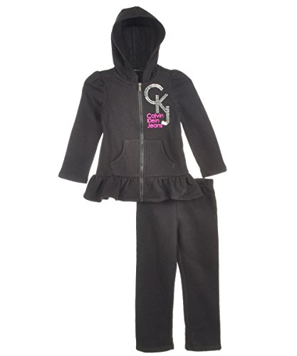 Calvin Klein Little Girls' Hoody With Pull On Pants, Black, 6 front-633943