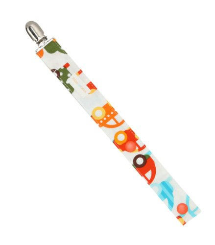 Boys Pacifier Clip Blue & Orange Cars and Trucks