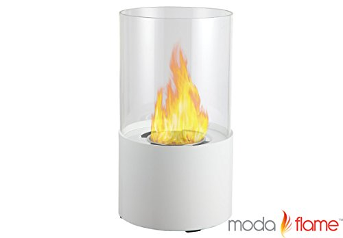 Moda Flame Lit Table Top Firepit Bio-Ethanol Fireplace In White