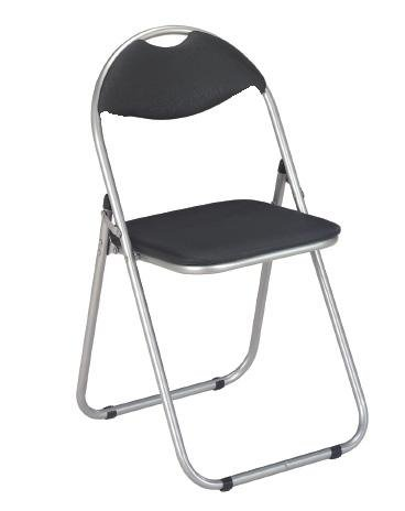 2 x Simple Black and Silver Steel Folding Foldable Chair