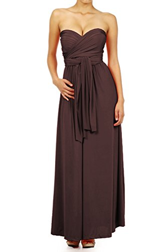 Leggingsqueen Infinity Style Multi Wrap Convertible Long Dress (Brown, Small)