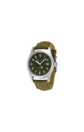 Hamilton-Mens-HML-H69419363-Stainless-Steel-Watch-with-Khaki-Field-Green-Strap