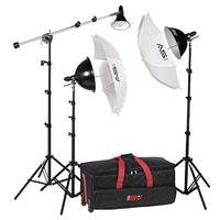 Smith Victor KT900 3Light 1250Watt Thrifty MiniBoom Kit with Light Cart on Wheels Carrying Case Picture