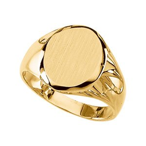 14K Yellow Gold Gents Signet Mounting with brushed finish: 13.25X10.75 MM Size: 9