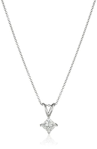 IGI-Certified-18k-White-Gold-Princess-Cut-Diamond-Pendant-Necklace-34cttw-G-H-Color-VS2-Clarity-18