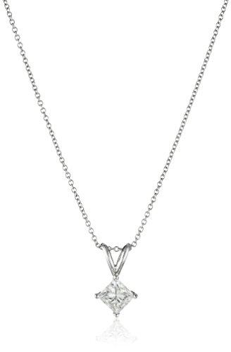 IGI-Certified-18k-White-Gold-Princess-Cut-Diamond-Pendant-Necklace-34cttw-G-H-Color-VS2-Clarity-18
