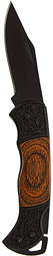 SE - Knife - Pocket, 3in Long, Paka Wood Body and Black Blade - KFD688