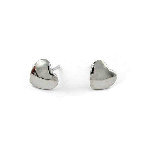 On Sale Free Shipping 18k White Gold Plated Heart Stud Earring 085125